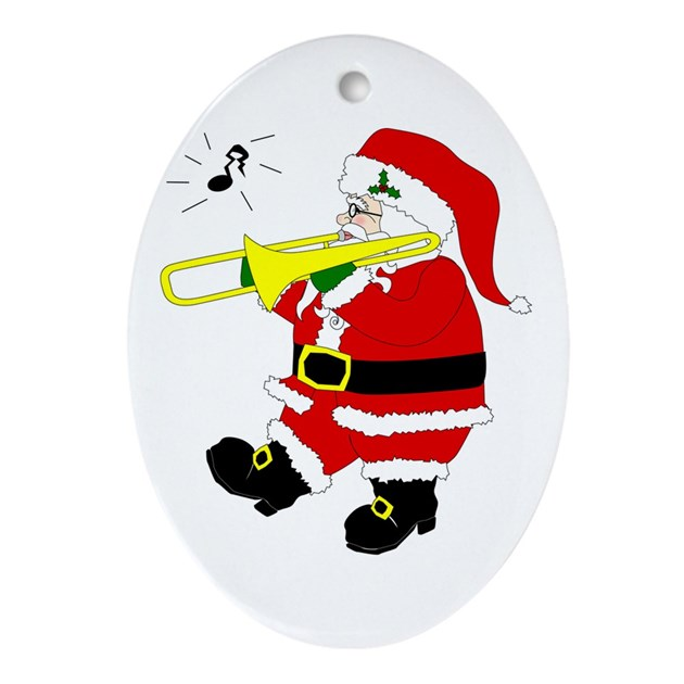 santa_plays_trombone_christmas_oval_ornament