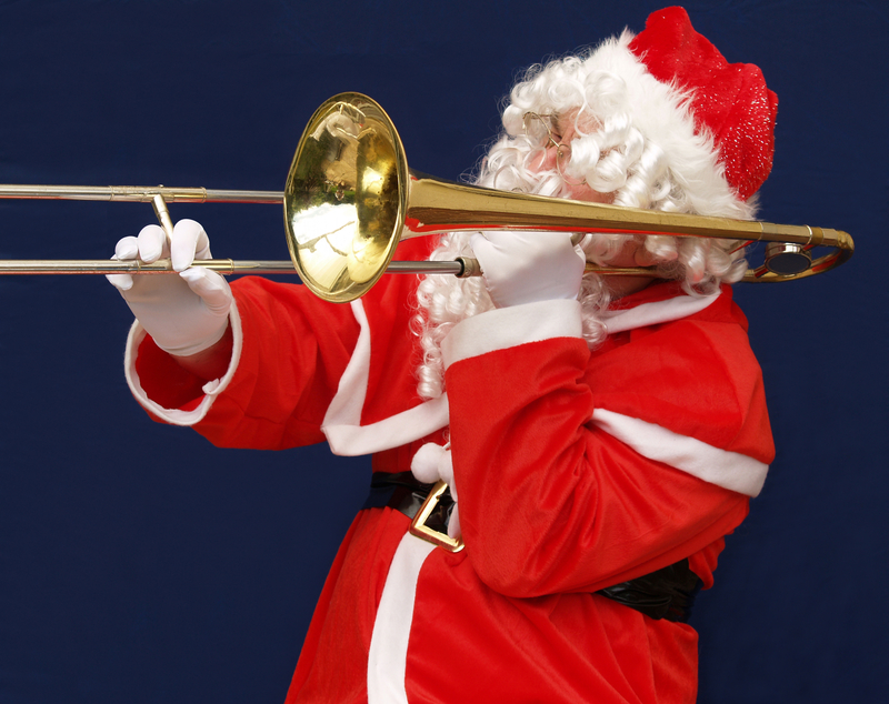 Santa plays the trombone. Of course.