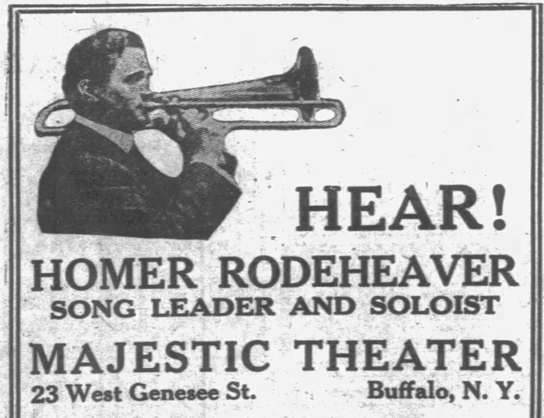 Rodeheaver photo with truncated trombone, 1926 - Newspapers.com